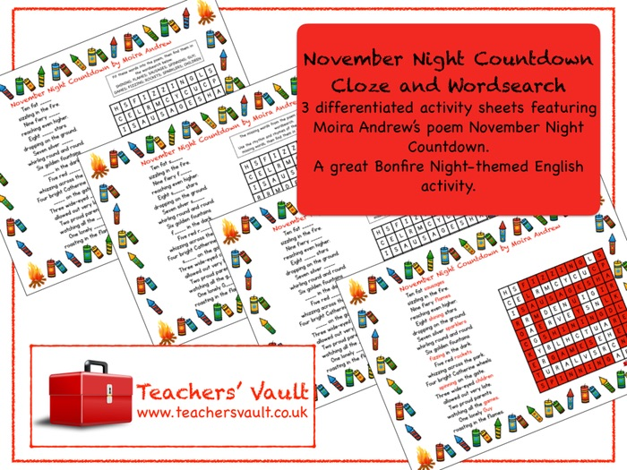 November Night Countdown Cloze and Wordsearch