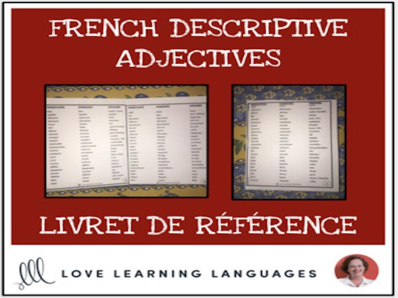 French Descriptive Adjectives Booklet - Livret de Référence