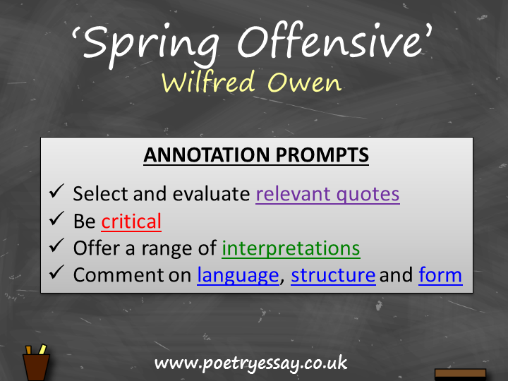 Wilfred Owen – 'Spring Offensive' – Annotation / Planning Table / Questions / Booklet