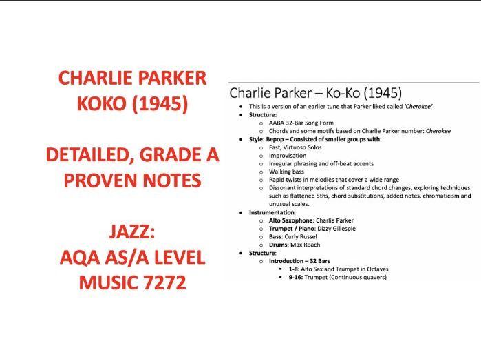 Charlie Parker's Ko-Ko AS Level Music Notes