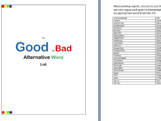 Reports: Good or Bad Word Chooser