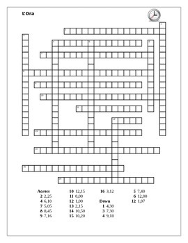 Ora (Time in Italian) Crossword