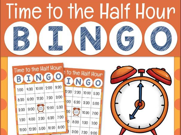 Telling Time to the Half Hour Bingo Game for Powerpoint