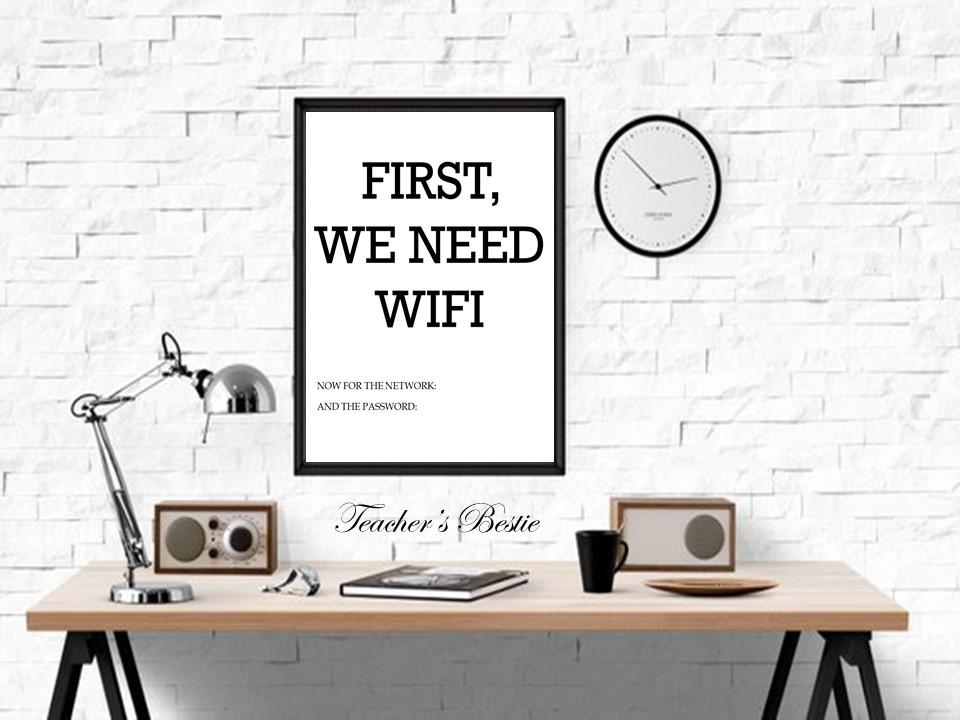 First We Need WiFi, WiFi, Printable Wall Art, Digital Download, WiFi Password, WiFi Sign, Printable