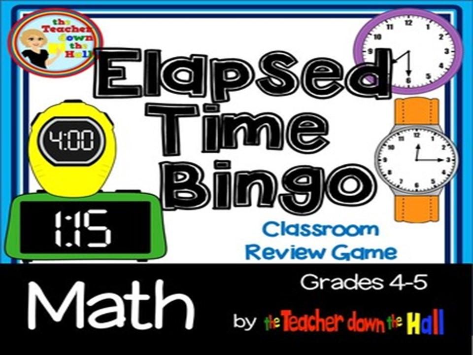Elapsed Time Bingo w/ 35 Bingo Cards Grades 4-5