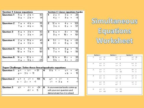 Simultaneous Equations Worksheet, Linear / Quadratic, 3 Levels Difficulty, Differentiated, Answers