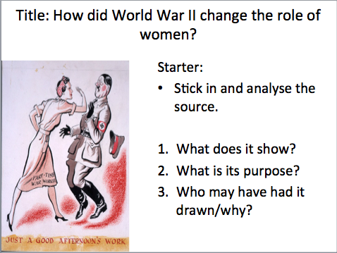 Year 9 - WW2 Lesson 5 Women in WW2