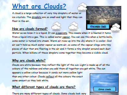 Explanation text about clouds comprehension activity. Weather
