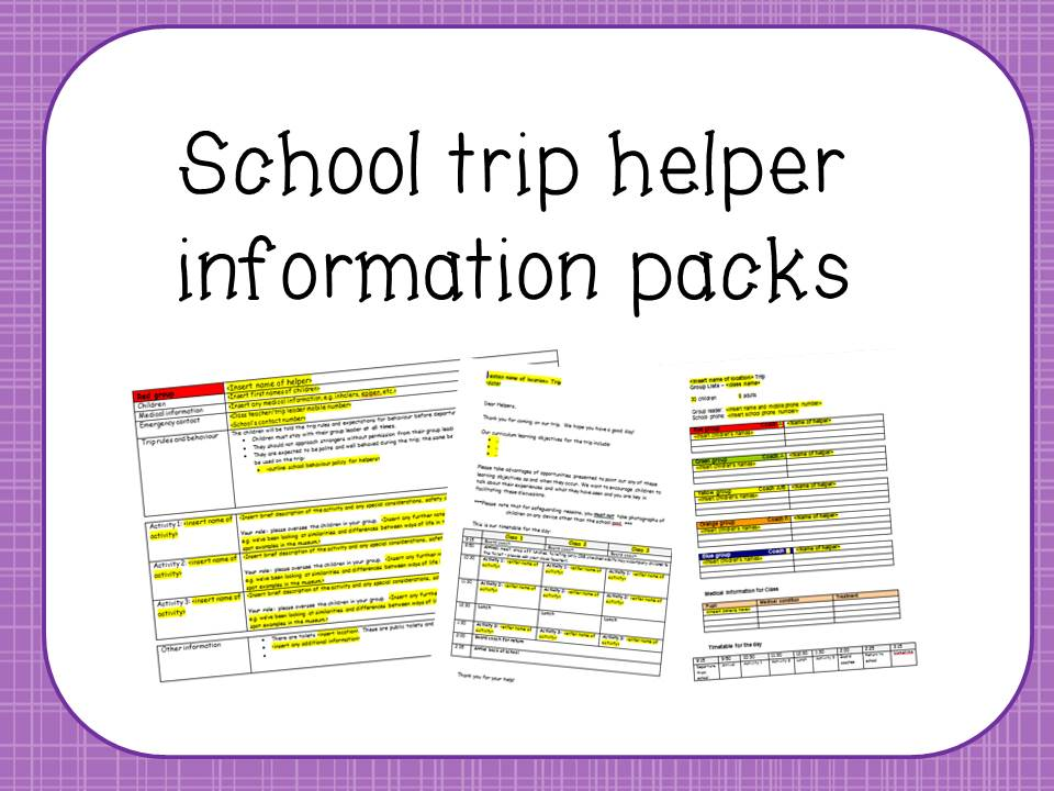 School trip helper information packs