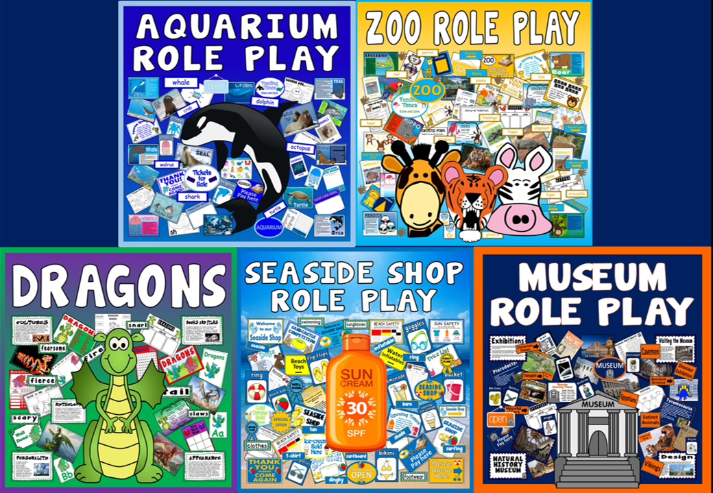 *BUNDLE ROLE PLAY* 5 SETS - ANIMALS, DRAGONS, MUSEUM