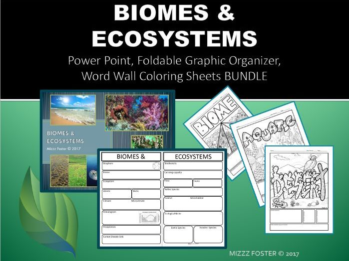 Biomes & Ecosystem Power point, Graphic Organizer for INB, and Word Wall Coloring Sheets