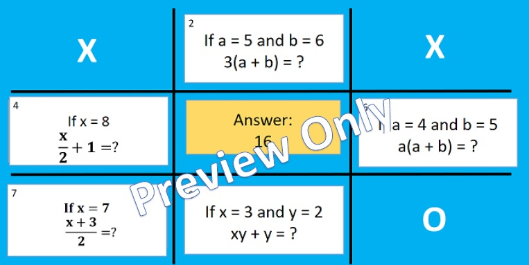 Algebra Noughts and Crosses Powerpoint Games