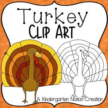 Turkey Clipart for Thanksgiving ~ Color & Black Line Images ~ Transparent .PNGS