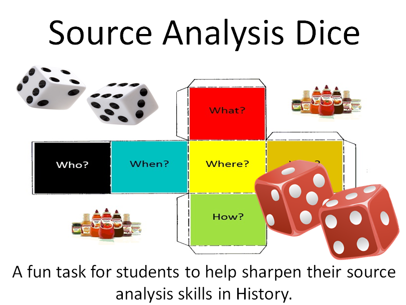 Dice for Source Analysis in History Lessons