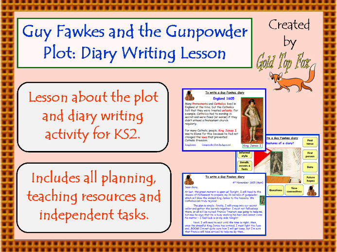 Guy Fawkes and the 5th November Gunpowder Plot: Diary Writing Lesson