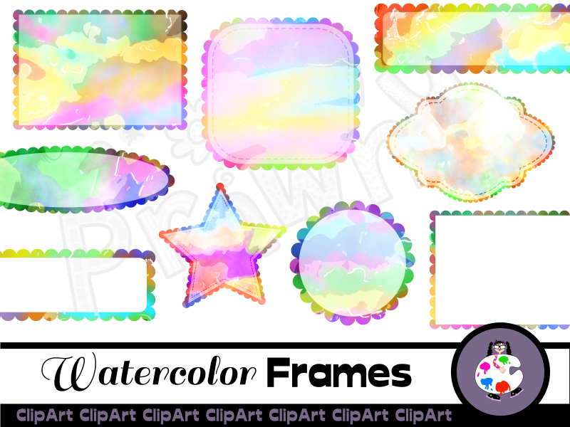 Artistic Watercolor Scallop Borders