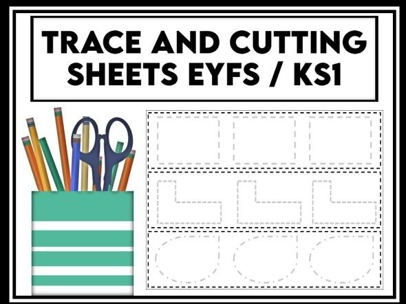 Trace and Cutting Practice Strips EYFS / KS1