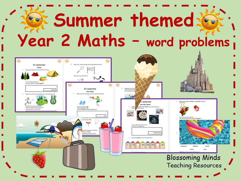 End of term Summer themed Year 2 Maths - all topics - Differentiated Levels