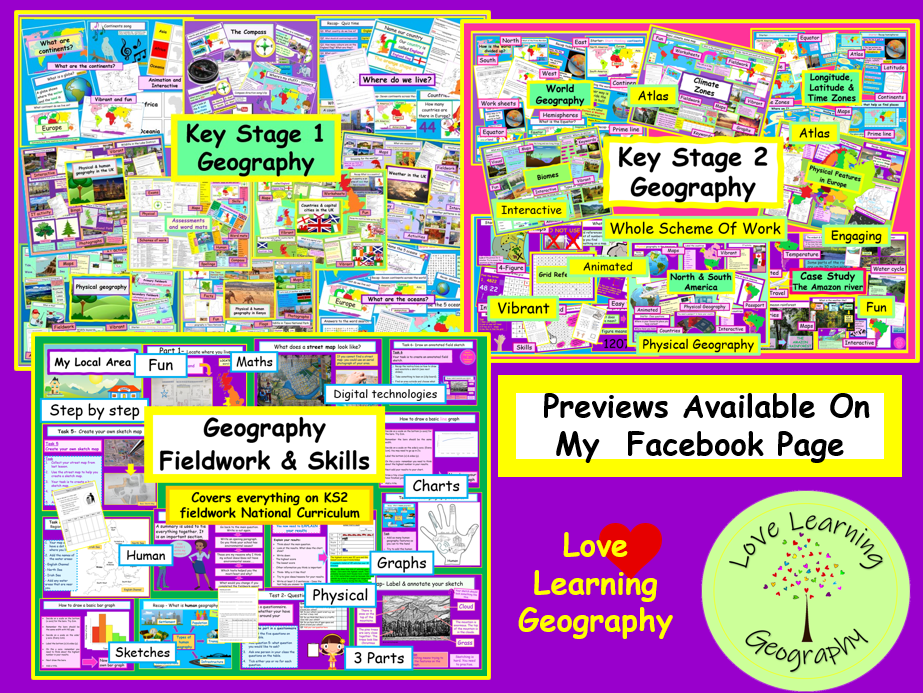 Geography KS1 KS2 & Fieldwork Covers NC