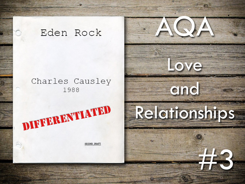 AQA Poetry Differentiated - Eden Rock (Love and Relationships Unit)(KS4)