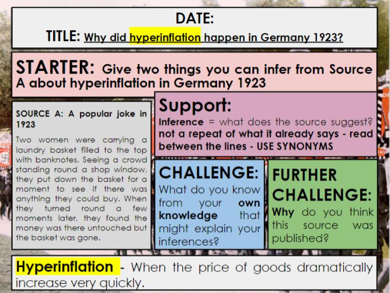 Edexcel 9-1 History GCSE: Paper 3 Germany: KT1 Lesson 5: Causes of hyperinflation : 3a Guidance