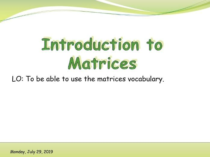 IB Applications and interpretations - Introduction to Matrices
