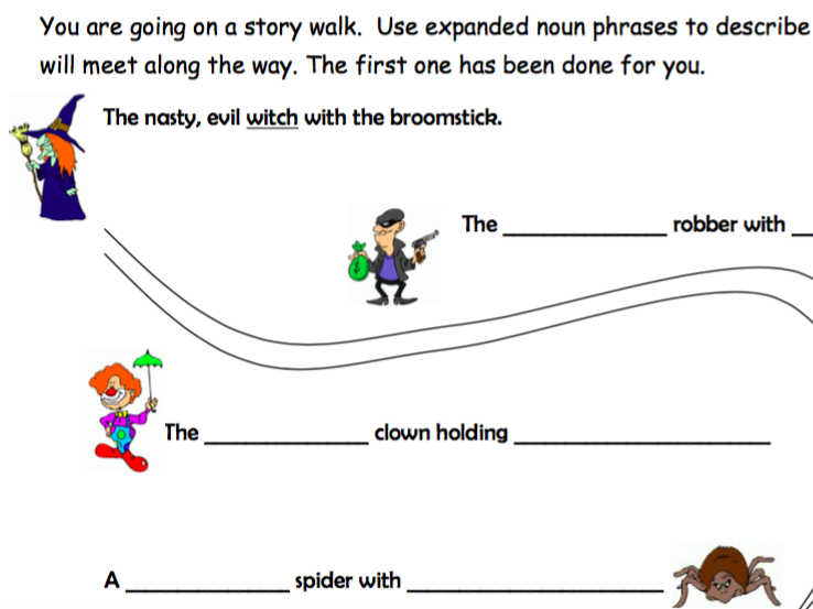 Expanded Noun Phrases Worksheet - Story Walk