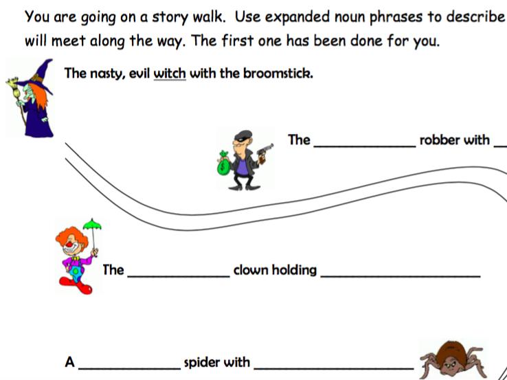 Expanded Noun Phrases Worksheet - Story Walk by nayanmaya - Teaching ...