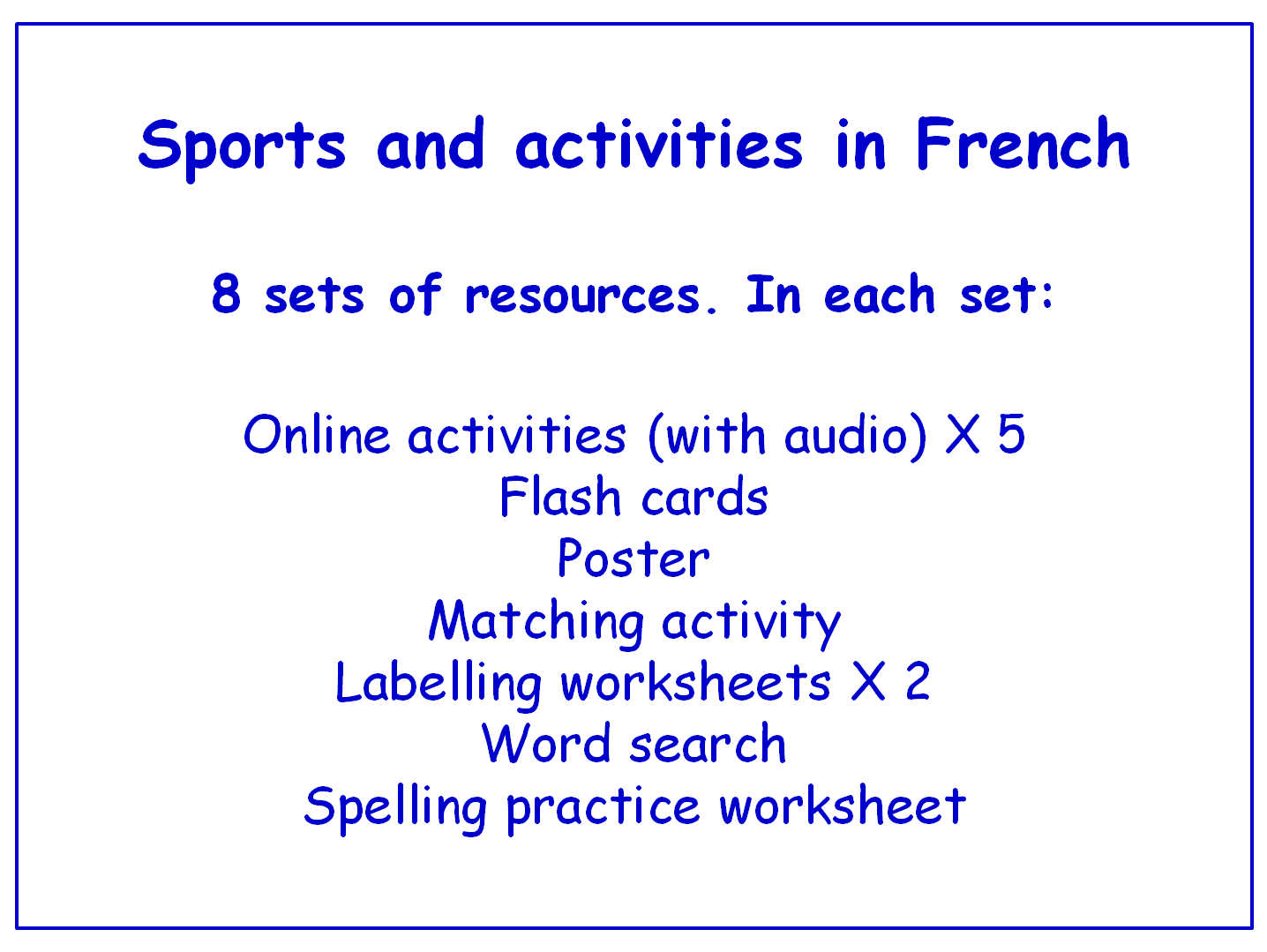 Sports in French  Worksheets, Games, Activities and Flash Cards (with audio) Bundle (8 sets)