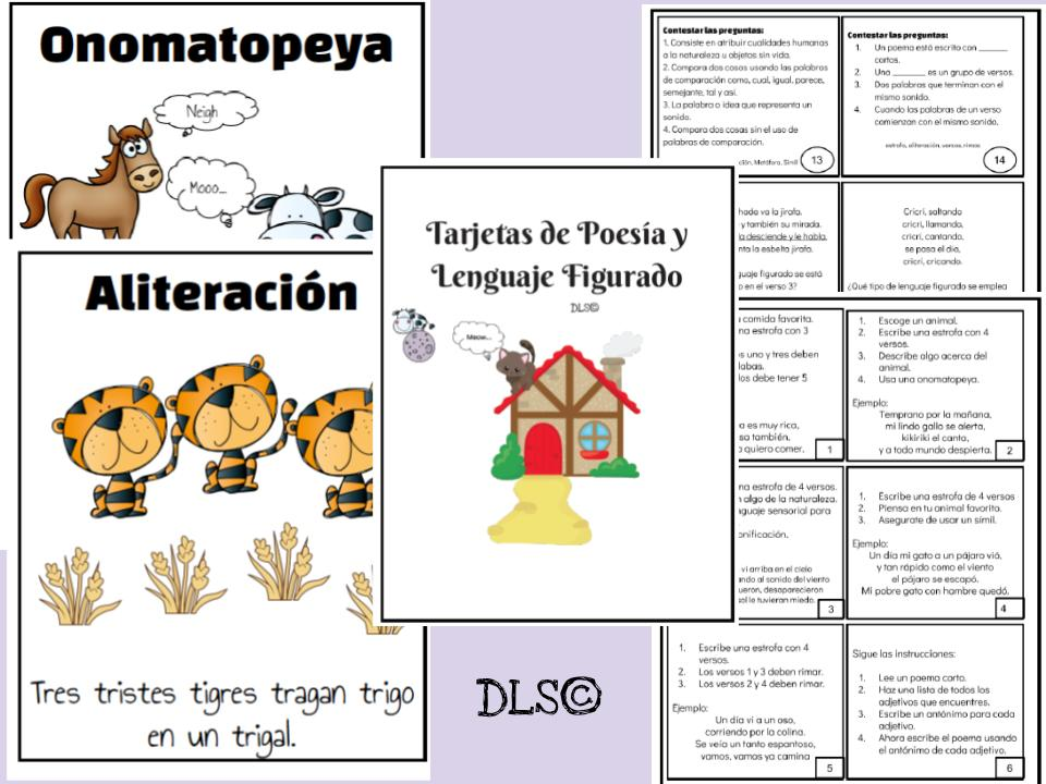 Tarjetas de Poesía y Lenguaje Figurado/Poetry and Figurative Language Task Cards