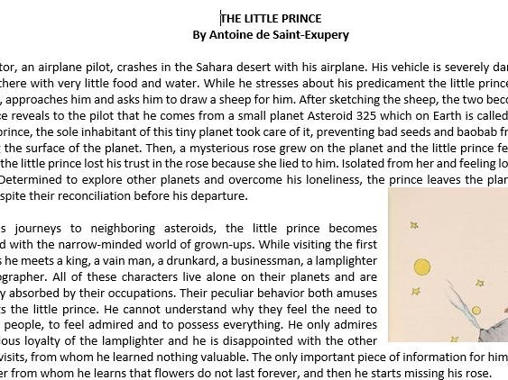 The Little Prince by Antoine de Saint- Exupery Summary/ Reading Comprehension Worksheet