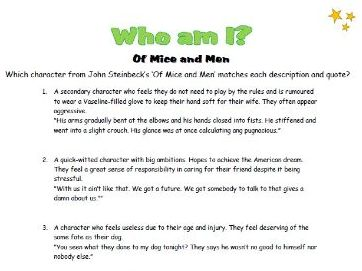 Who am I? - Of Mice and Men