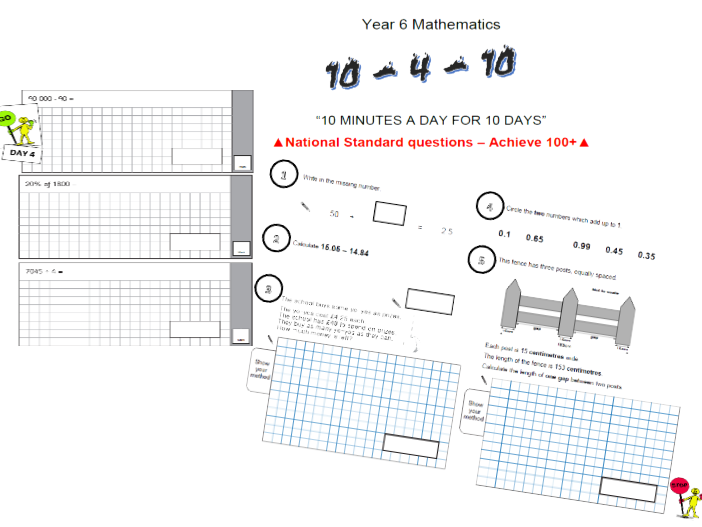 KS2 Maths SATs Booster Revision Packs: ten minutes a day for ten days - ideal  Easter holidays