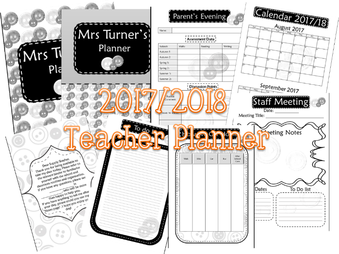 Teacher Planner Binder B&W Editable. Get organised this year!