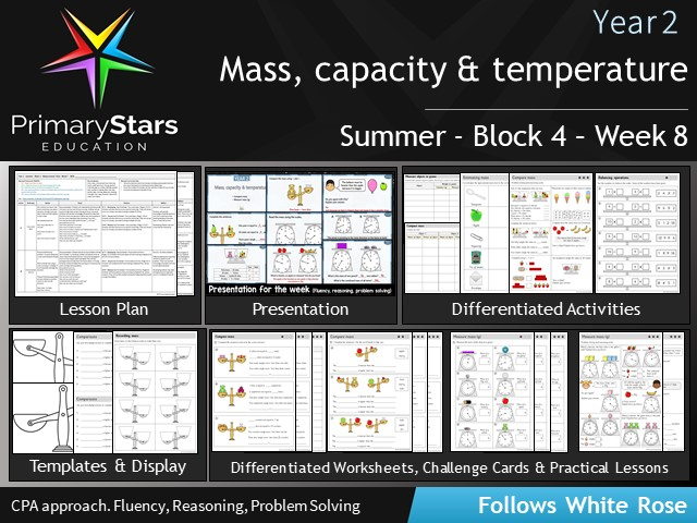 YEAR 2 - Mass , capacity , temperature - White Rose - WEEK 8 - Block 4 - Summer- Differentiated Pack