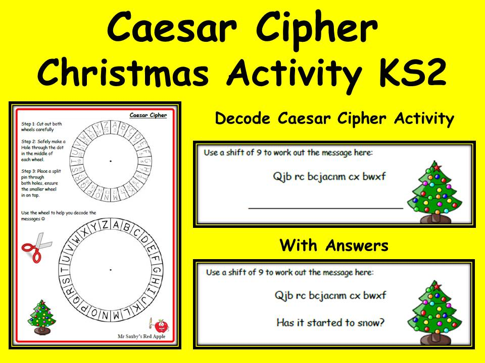 Caesar Cipher Christmas Activity Coding Decode With Wheel and Answers