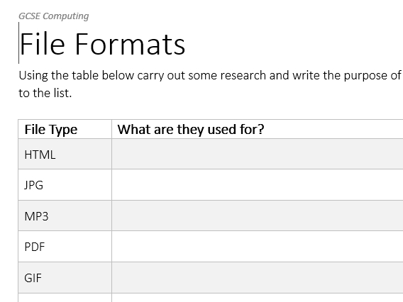 File Formats - Worksheet and Answers