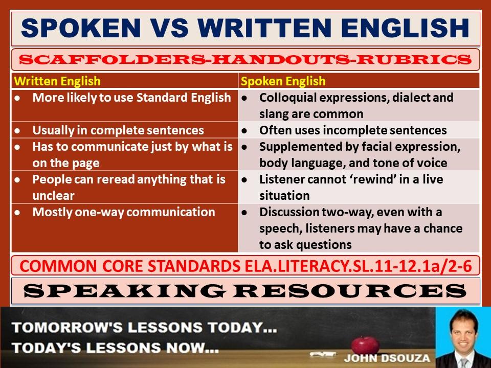 SPOKEN VS WRITTEN ENGLISH HANDOUTS