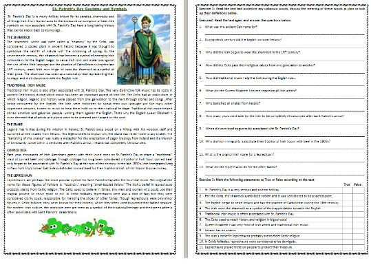 St. Patrick's Day Customs and Symbols - Reading Comprehension