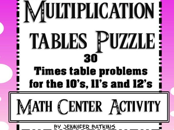 Multiplication Math Facts Puzzle For 10 11 And 12 Times Tables