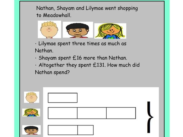 KS2 Word problems with Bar Modelling Visual