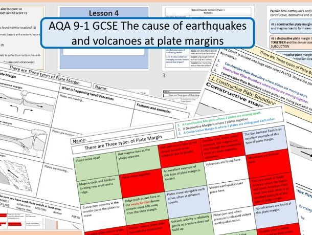 GCSE AQA 9-1 The Cause of Earthquakes and Volcanoes at Plate Margins.