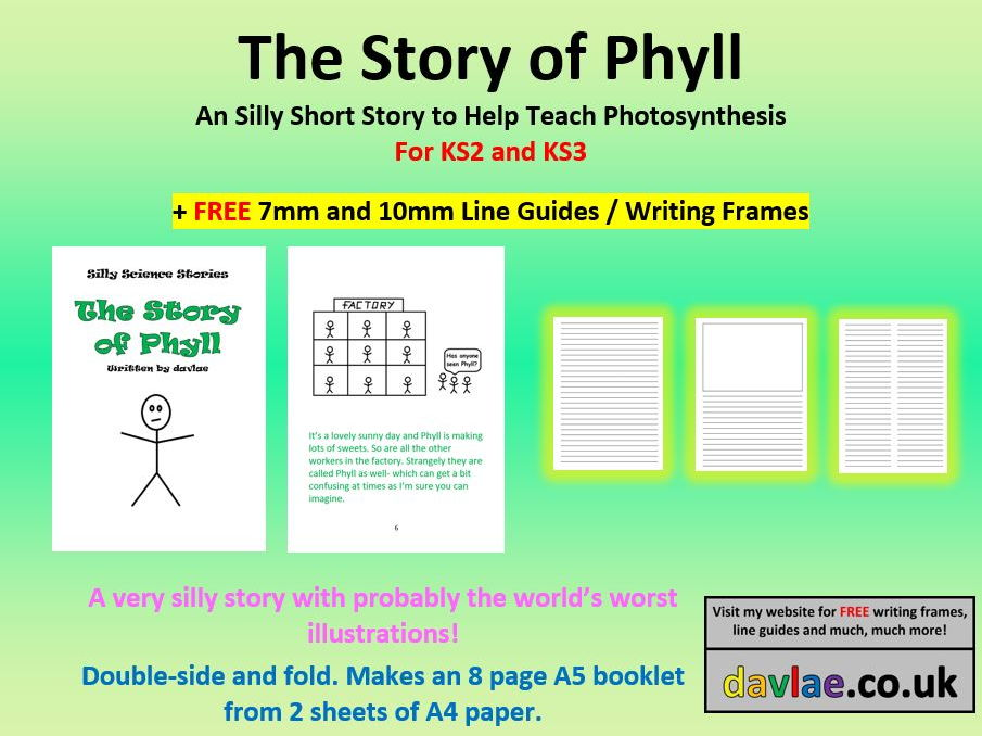 The Story of Phyll for KS2 and KS3 (+ FREE 7MM AND 10MM LINE GUIDES / WRITING FRAMES)