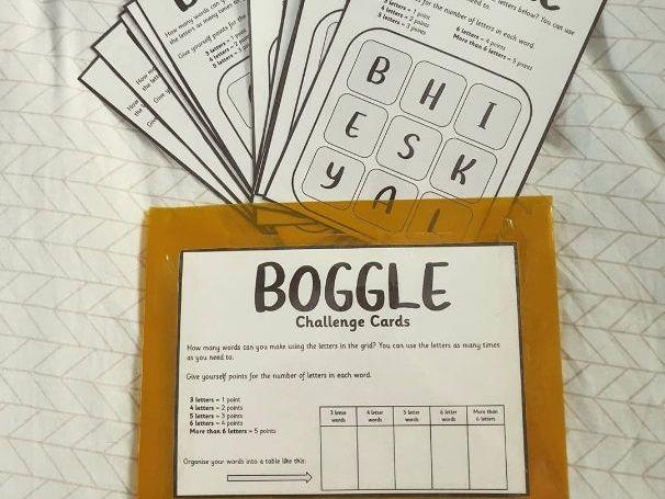 Boggle Challenge Cards
