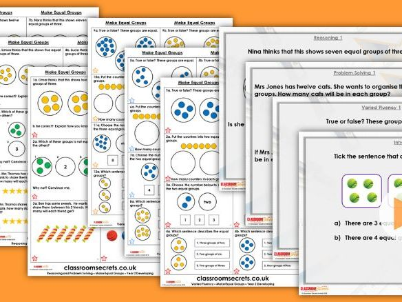 Year 2 Make Equal Groups Autumn Block 4 Step 2 Lesson Pack