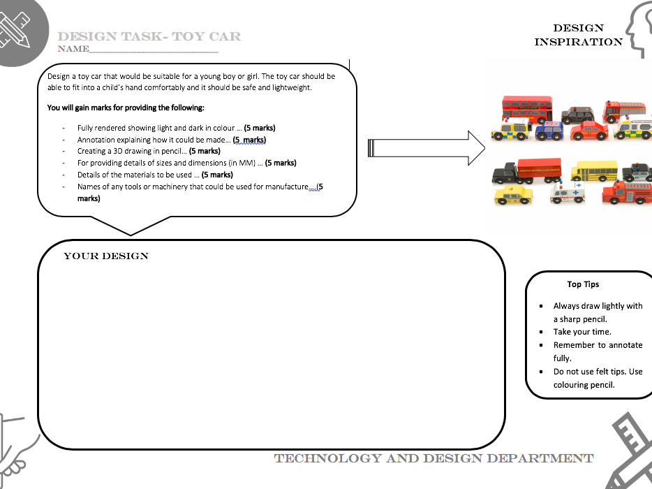 Toy car design task worksheets - Suitable for covering Technology and Design lesson
