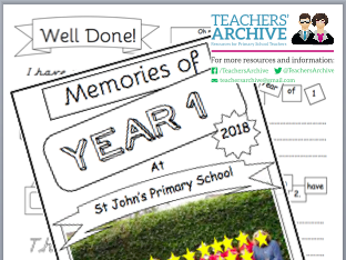End of Year Memory Work Book. Transition - Year 1 *PLUS free Certificate templates*