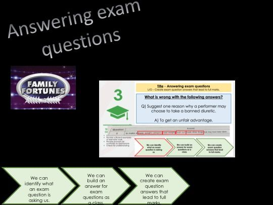 Answering exam questions lesson - GCSE PE