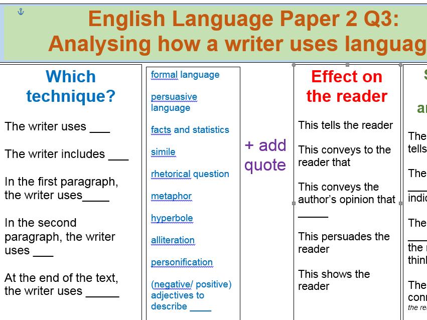AQA English Language Paper 2 GCSE Writing Frame, Word-mats, Sentence starters