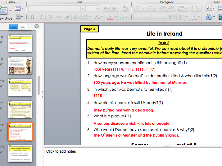 The Norman Invasion of Ireland (PowerPoint to accompany pupil workbook)